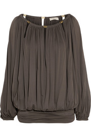 Emilio Pucci Chain-embellished draped jersey top