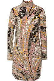 Emilio Pucci Embellished printed silk mini dress