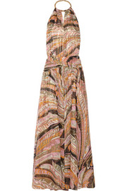 Emilio Pucci Backless printed silk-blend gown