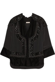 Emilio Pucci Leather-trimmed embellished satin top