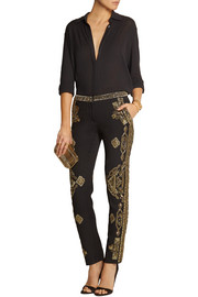 Emilio Pucci Embellished wool and silk-blend twill skinny pants