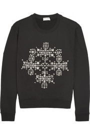 Saint Laurent Studded cotton-jersey sweatshirt
