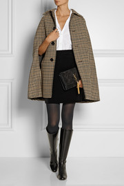 Saint Laurent Houndstooth wool-blend cape