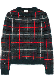 Saint Laurent Sequined tartan mohair-blend sweater