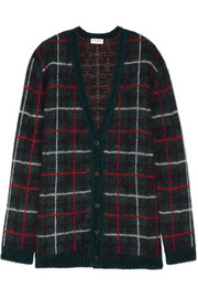 Saint Laurent Oversized tartan mohair-blend cardigan