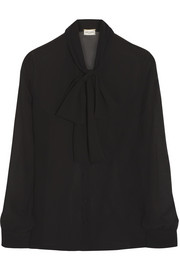Saint Laurent Pussy-bow silk-georgette blouse