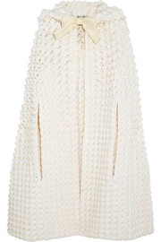 Hooded crocheted wool-blend cape