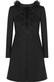 Saint Laurent Ruffled wool-crepe mini dress
