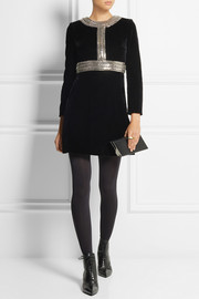 Saint Laurent Chain-embellished velvet mini dress