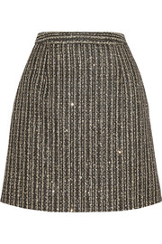 Saint Laurent Sequin-embellished metallic tweed mini skirt
