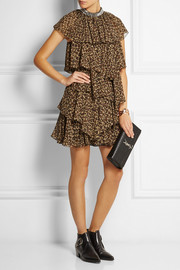 Saint Laurent Ruffled leopard-print silk-georgette mini dress