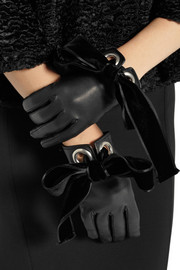 Alexander McQueen Bow-embellished leather gloves