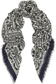 Alexander McQueen Fairytale Stripes printed modal and silk-blend scarf
