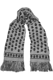 Alexander McQueen Reversible wool and silk-blend blanket scarf