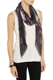 Alexander McQueen Moth printed modal and silk-blend scarf