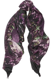 Moth printed modal and silk-blend scarf