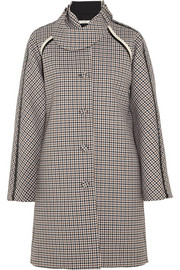 Sherlock patent-trimmed wool-tweed coat
