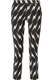 Neil Barrett Cropped printed stretch-gabardine skinny pants