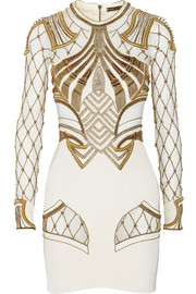 Sass & bide The Royal One embellished mesh-paneled stretch-silk mini dress