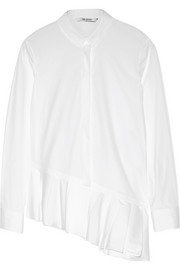 Neil Barrett Ruffled stretch cotton-blend poplin shirt