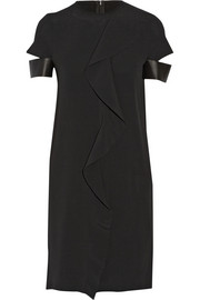 Neil Barrett Ruffled leather-trimmed silk-blend georgette dress