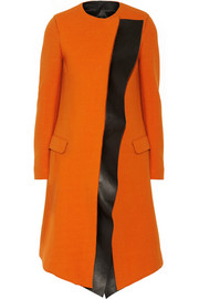 Neil Barrett Leather-trimmed wool-blend coat