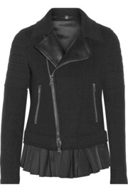Neil Barrett Leather-trimmed wool-blend biker jacket