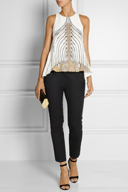Sass & bide Creative Play embellished twill and crepe de chine top