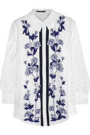 Mother of Pearl Keres printed silk crepe de chine shirt