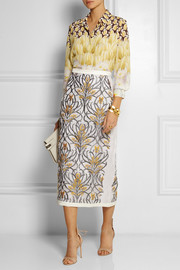 Mother of Pearl Knox embroidered silk-organza midi skirt