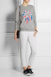 Markus Lupfer Union Jack Drip Lip sequined cotton-jersey sweatshirt