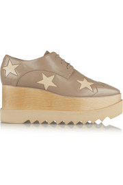 Stella McCartney Star-patterned faux leather wedge lace-ups