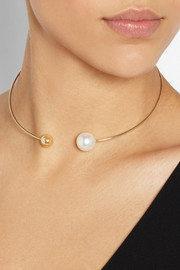 Sophie Bille Brahe Deesse 14-karat gold pearl necklace