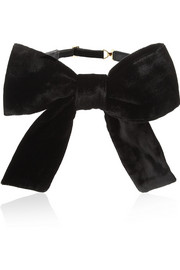 Velvet and leather bow-tie collar