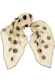 Saint Laurent Polka-dot silk-georgette scarf