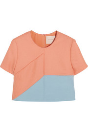 Roksanda Ilincic Mayes cropped wool-blend twill and crepe top
