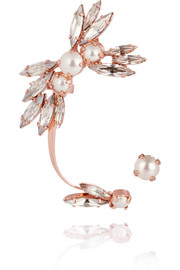 Ryan Storer Rose gold-plated, Swarovski crystal and pearl ear cuff