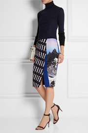 Peter Pilotto Vic tweed-paneled printed strech-crepe skirt