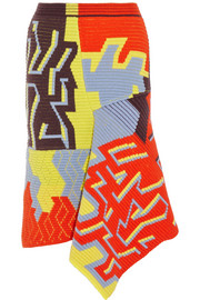Peter Pilotto Ribbed-knit wool-blend skirt