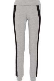 Suede-trimmed wool track pants
