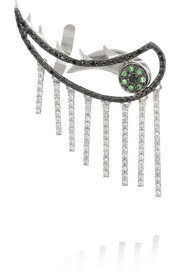 Ileana Makri 18-karat white gold, diamond and tsavorite earring