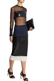 Toga Shell-trimmed rubber midi skirt