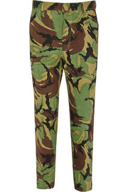 Camouflage-print high-rise slim-leg jeans