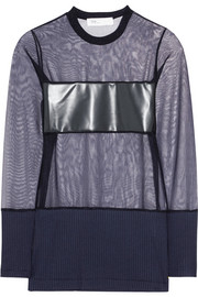 Toga Rubber and jersey-paneled mesh top