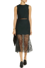 Toga Layered twill and leopard-print voile dress