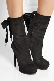 Alexander McQueen Bow-embellished suede ankle boots