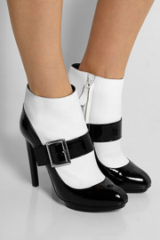 Alexander McQueen Two-tone patent-leather ankle boots