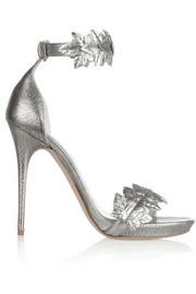 Alexander McQueen Appliquéd metallic textured-leather sandals