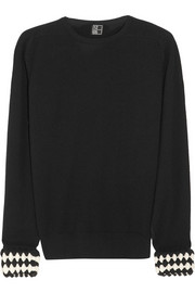 1205 Contrast-cuff wool sweater