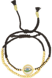 IAM by Ileana Makri Set of two gold-plated, pyrite and cord bracelets